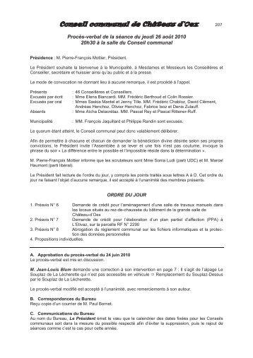 Procès-verbal de la séance du 26 août 2010 - Château-d'Oex