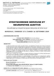 dyssynchronie nerveuse et neuropathie auditive - SNORL