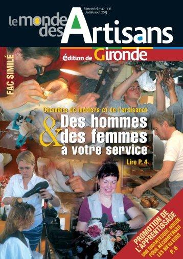 N°47 - Juillet-Aout 2005 - Chambre de métiers et de l'artisanat