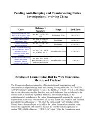 Pending Anti-Dumping and Countervailing Duties Investigations ...