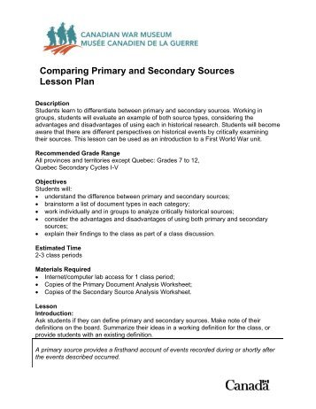 primary and secondary sources worksheets - Termolak
