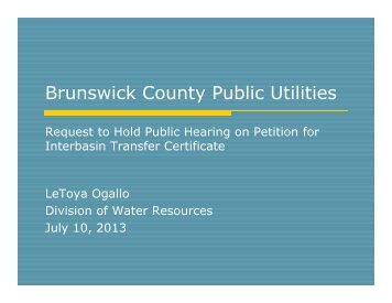 Brunswick County Public Utilities - Division of Water Resources
