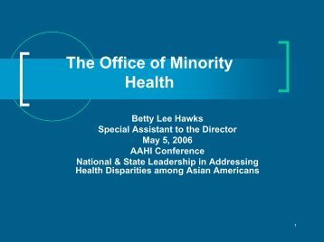 National & State Leadership in Addressing Health Disparities ...