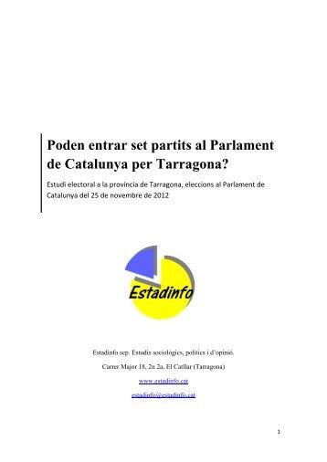 Estadinfo. poden entrat set partits al parlament de catalunya per tarragona