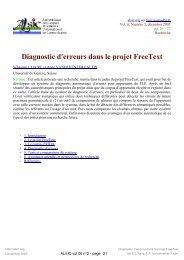 Diagnostic d'erreurs dans le projet FreeText - Archive-EduTice