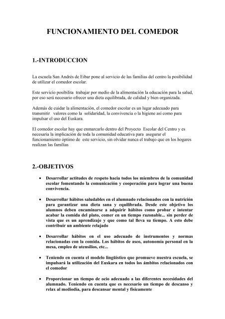 FUNCIONAMIENTO DEL COMEDOR - Documento sin tÃtulo