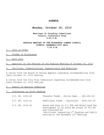 AGENDA Monday, October 18, 2010 - City of Mishawaka