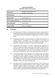 Student Code of Conduct and Disciplinary Procedures - Aga Khan ...