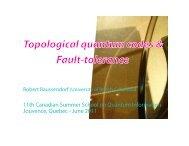 Topological quantum codes & Fault-tolerance - EPIQ