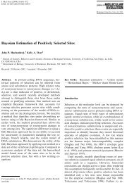 Bayesian Estimation of Positively Selected Sites - Molecular Evolution
