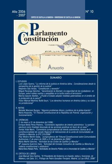 Parlamento y Constitución. Anuario núm. 10 (2006-2007)