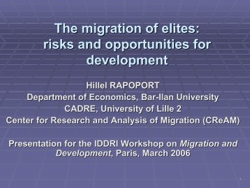 The migration of elites: risks and opportunities for development - Iddri