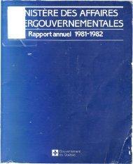 Rapport annuel 1981-1982 - Ministère des Relations internationales