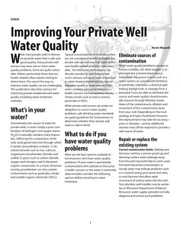 Improving Your Private Well Water Quality - The Learning Store ...