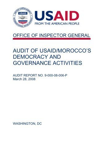 Audit of USAID/Morocco's Democracy and Governance Activities