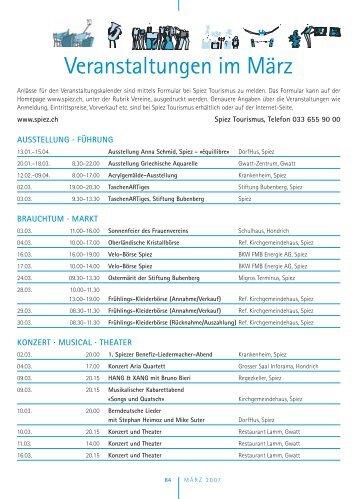 Veranstaltungen im März