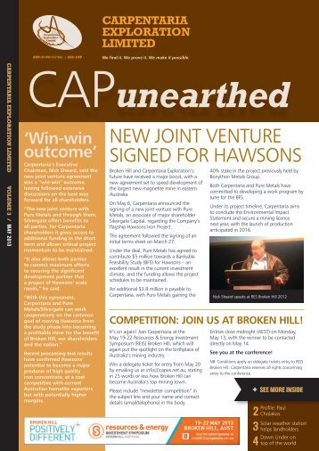 CAP unearthed Newsletter May 2013 - Carpentaria Exploration ...