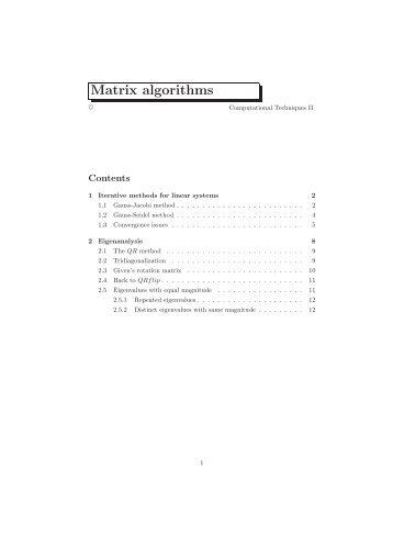 Matrix algorithms