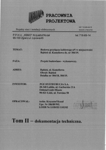 pracownia projektowa - PGE Dystrybucja SA Oddział Łódź-Miasto