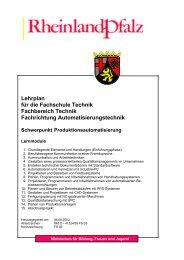 Lehrplan für die Fachschule Technik Fachbereich Technik ...
