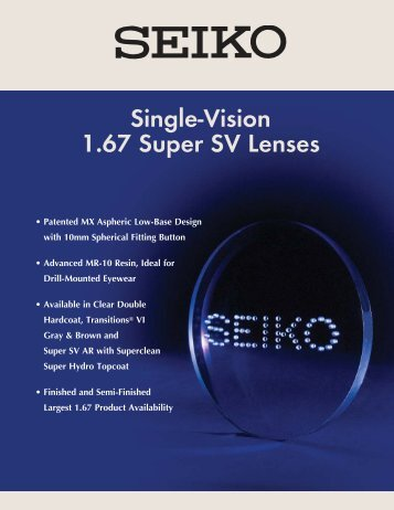 5392387747 Single-Vision 1.67 Super SV Lenses - Robertson Optical Laboratories