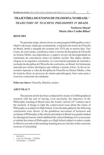 TRAJETÓRIA DO ENSINO DE FILOSOFIA NO BRASIL 1 - Unifra