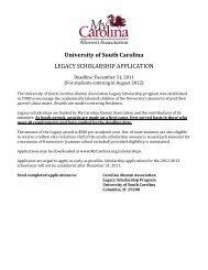 University of South Carolina LEGACY SCHOLARSHIP APPLICATION