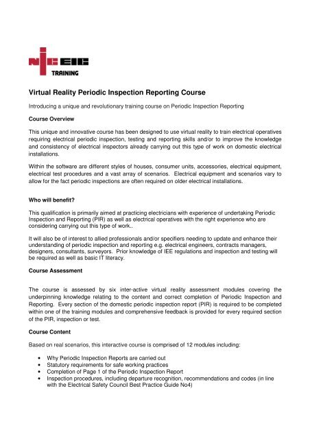 Virtual Reality Periodic Inspection Reporting Course - NICEIC