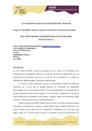 Identidades socioprofesionales e historia institucional - ASET