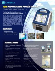 Portable Particle Counter Model 3910 Featherlight ... - Kanomax USA