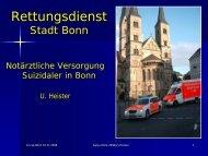 Notärztliche Versorgung Suizidaler in Bonn - RAP-Tage