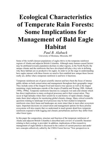 Ecological Characteristics of Temperate Rain Forests - Raptor ...