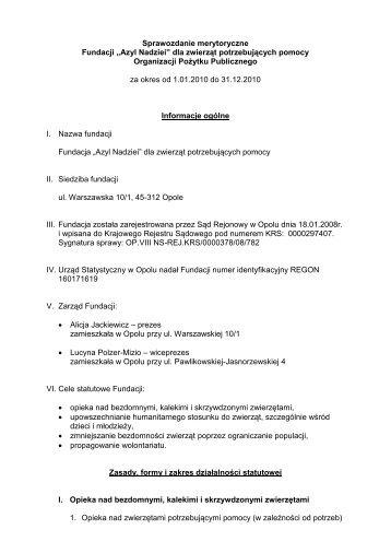 Sprawozdanie merytoryczne Fundacji - Wyszukiwanie Organizacji ...