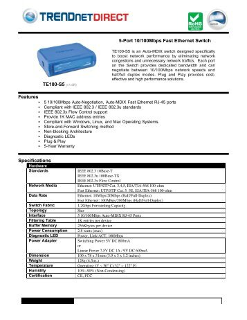 TE100-S5 5-Port 10/100Mbps Fast Ethernet Switch - TRENDnet
