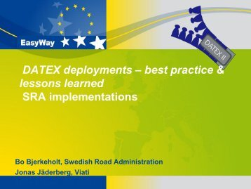 SRA implementations – B. Bjerkeholt Swedish Road Administration ...