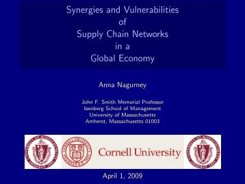 Synergies and Vulnerabilities of Supply Chain Networks in a Global ...