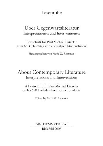 Über Gegenwartsliteratur About Contemporary Literature