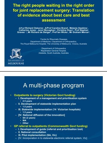 A multi-phase program - Australian Health Services Research ...