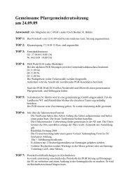 Gemeinsame Pfarrgemeinderatssitzung am 24.09.09