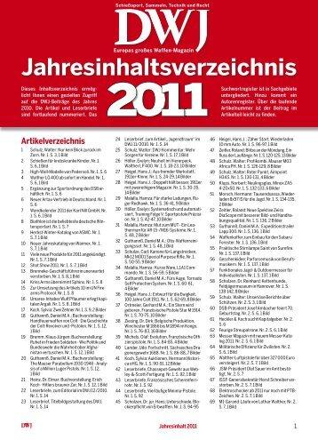 Jahresinhaltsverzeichnis - DWJ