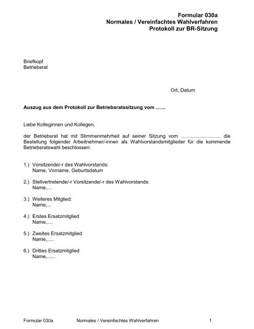 Formular 030a Normales Vereinfachtes Betriebsratswahl