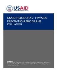 USAID/Honduras: HIV/AIDS Prevention Programs - Evaluation