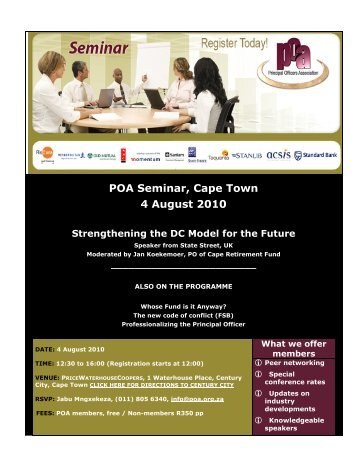 POA Seminar, Cape Town 4 August 2010 - Principal Officers ...