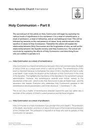 Holy Communion – Part II