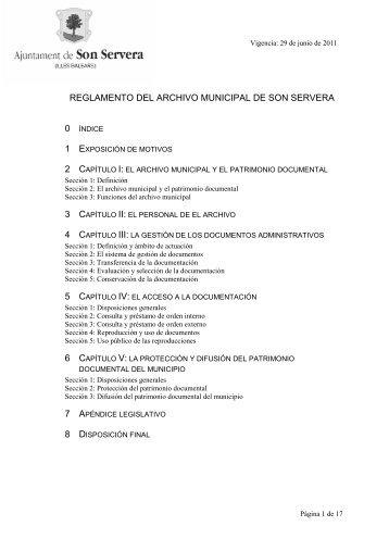Reglamento del archivo municipal de Son Servera