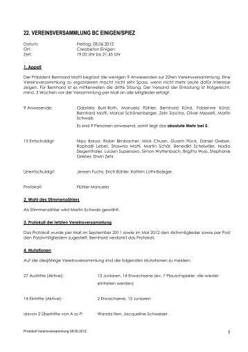 Protokoll VV 8 6 2012 - BC Einigen/Spiez
