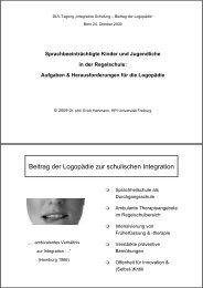 Integrative Schulung von sprachbeeinträchtigten Kindern und ...