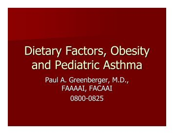 Dietary Factors, Obesity and Pediatric Asthma - World Allergy ...