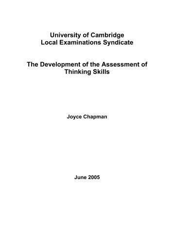 The Development of the Assessment of Thinking Skills - Cambridge ...