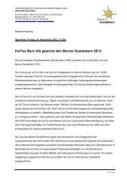 InoTex Bern AG gewinnt den Berner Sozialstern 2012 - UPD